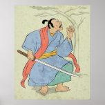Guerrero del samurai con la impresión de bloque de posters