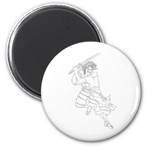 guerrero del samurai con la lucha de la espada del imanes para frigoríficos