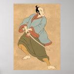 guerrero del samurai con la lucha de la espada del posters