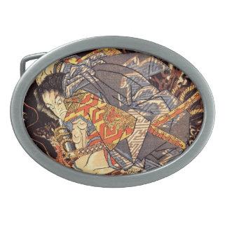Guerrero del samurai - Kuniyoshi Hebillas Cinturón Ovales