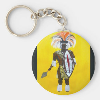 Guerrero del Zulú Llavero Redondo Tipo Pin