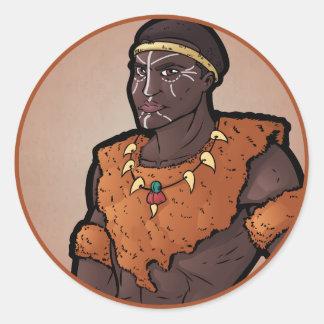 Guerrero del Zulú Pegatina Redonda