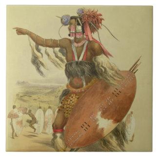 Guerrero del Zulú, Utimuni, sobrino de Chaka el úl Azulejo Cuadrado Grande