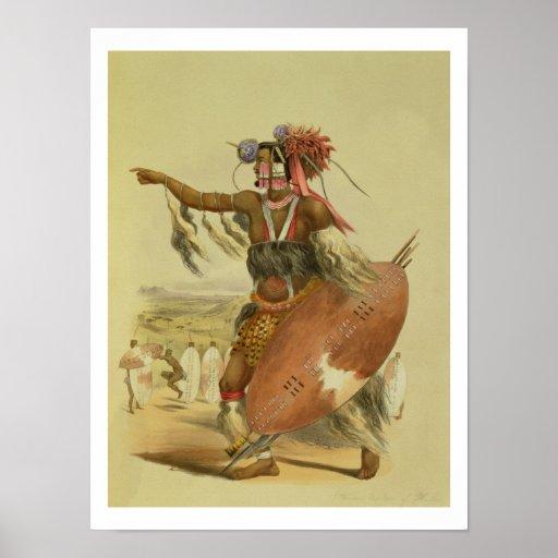 Guerrero del Zulú, Utimuni, sobrino de Chaka el úl Posters
