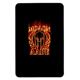 Guerrero espartano de Molon Labe en el fuego Imanes Flexibles