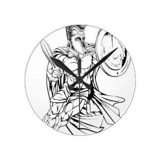 Guerrero espartano griego reloj redondo mediano