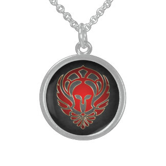 Guerrero espartano griego rojo collares de plata esterlina