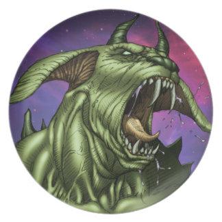 Guerrero extranjero del monstruo del perro por el plato