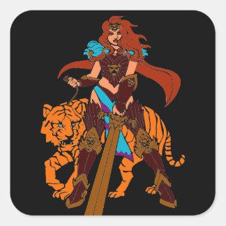 Guerrero femenino con el tigre y la espada pegatina cuadrada