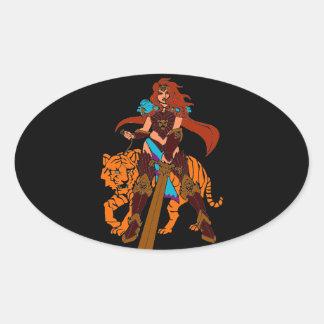 Guerrero femenino con el tigre y la espada pegatina ovalada