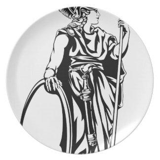 Guerrero griego de Athena de la diosa Platos