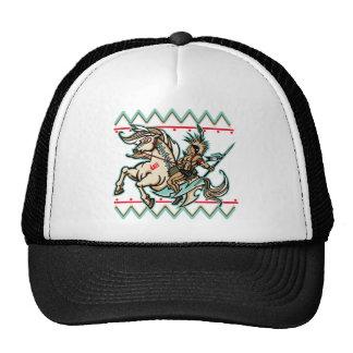 Guerrero indio en caballo gorras