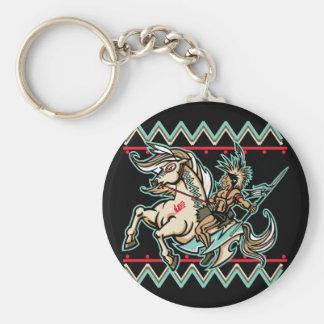 Guerrero indio en caballo llavero redondo tipo pin