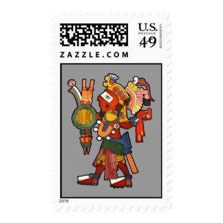 Guerrero indio maya adornado del franqueo sello postal