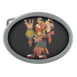 guerrero indio maya adornado elegante hebilla de cinturon