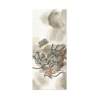 Guerrero japonés del dragón del vintage lienzo envuelto para galerias