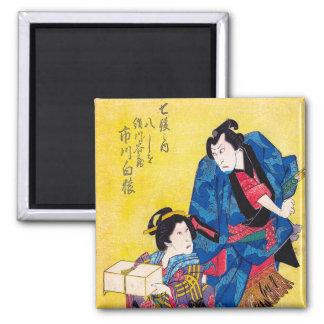 Guerrero japonés oriental fresco del geisha y del  imanes