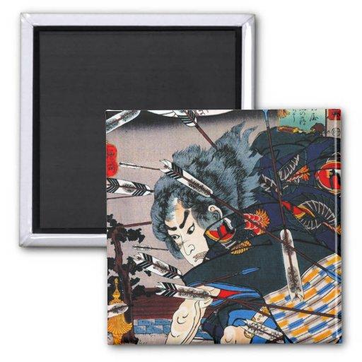 Guerrero japonés tradicional oriental fresco del s imanes de nevera