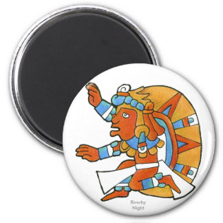 Guerrero maya v.1 imán redondo 5 cm