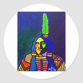 Guerrero místico o-11 pegatina redonda