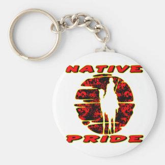 Guerrero nativo #002 del orgullo llavero redondo tipo pin