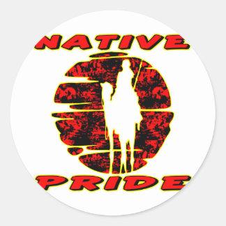 Guerrero nativo #002 del orgullo etiquetas redondas
