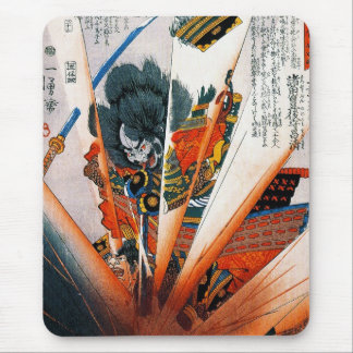 Guerrero oriental fresco del samurai de Kunioshi d Tapete De Ratones