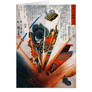 Guerrero oriental fresco del samurai de Kunioshi d Tarjeta Pequeña