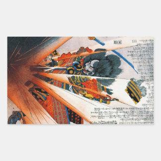 Guerrero oriental fresco del samurai de Kunioshi Pegatina Rectangular