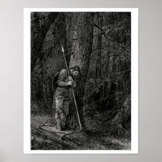 Guerrero que se inclina contra un árbol póster