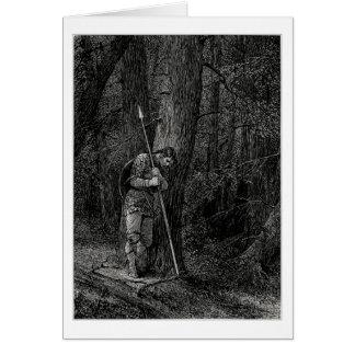 Guerrero que se inclina contra un árbol tarjeta de felicitación