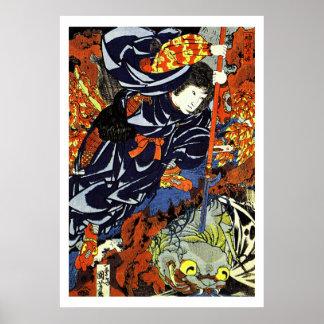 Guerrero Ukiyo-e Woodblock del samurai Póster