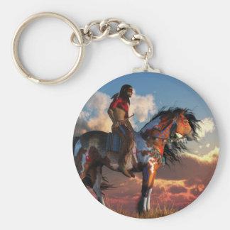 Guerrero y caballo de guerra llavero redondo tipo pin