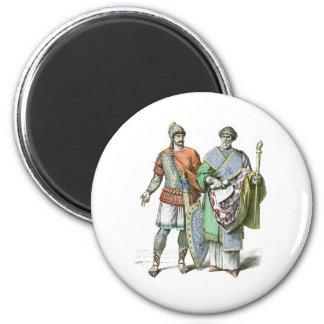 Guerrero y canciller bizantinos imán redondo 5 cm