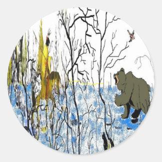 Guerrero y oso del invierno etiquetas redondas