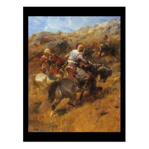 Guerreros árabes de Adolfo Schreyer en una ladera Postales