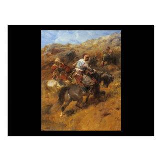 Guerreros árabes de Adolfo Schreyer en una ladera Postal