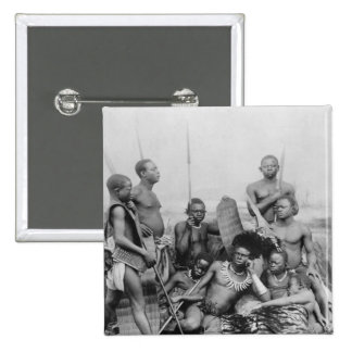 Guerreros, Congo Belga, 1894 Pin Cuadrada 5 Cm