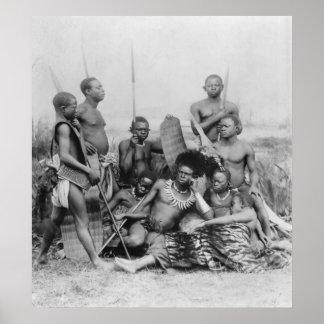 Guerreros, Congo Belga, 1894 Póster