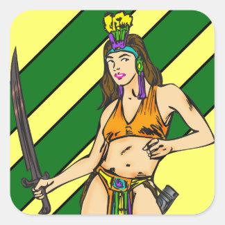 Guerreros de las mujeres del Amazonas Pegatina Cuadrada