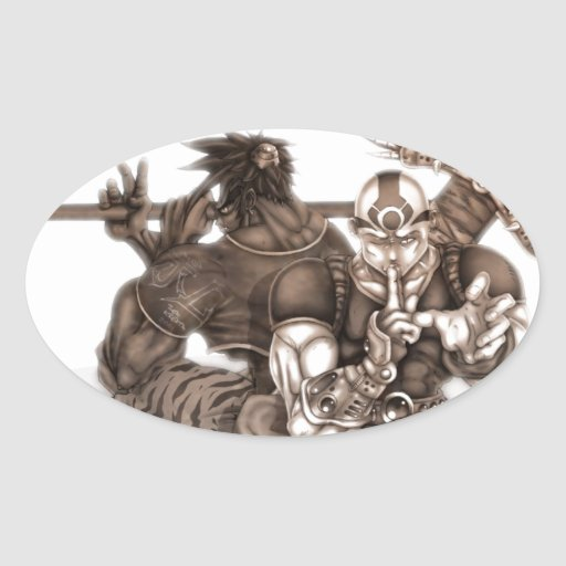 Guerreros de Manga de la fantasía Pegatina Ovalada