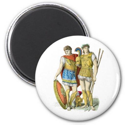 Guerreros del griego clásico imán redondo 5 cm