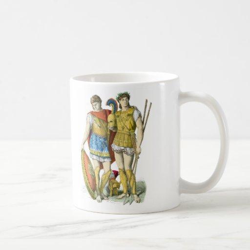 Guerreros del griego clásico tazas de café
