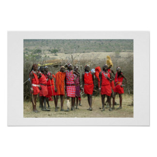 GUERREROS DEL MASAI EN KENIA ÁFRICA PÓSTER