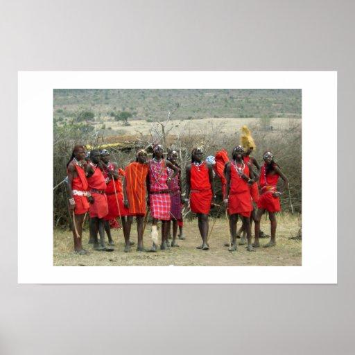 GUERREROS DEL MASAI EN KENIA ÁFRICA POSTER