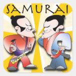Guerreros del samurai calcomania cuadradas