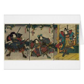 Guerreros del samurai circa JAPÓN 1850 Tarjeta De Felicitación