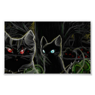 Guerreros Hawfrost y Tigerstar- el bosque oscuro Poster