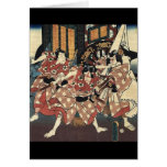 Guerreros japoneses del samurai del vintage felicitacion