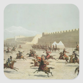 Guerreros kurdos y tártaros en Sadar Abbat, Pegatina Cuadrada